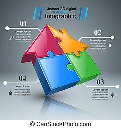 ügy, rejtvény, épület, icon., infographic.