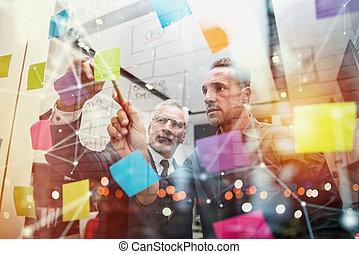 ügy, siker, emberek, együtt., fogalom, munka, csapatmunka, társas viszony