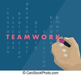 ügy, tábla, kéz, csapatmunka, írás, ember