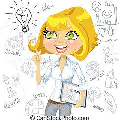 ügy, tabletta, gondolat, háttér, doodles, leány, elektronikus, ihlet