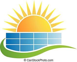 ügy, vektor, napnyugta, felül, jel, tervezés, épület.