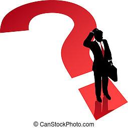 ügy, zűrzavar, elhatározás, kérdőjel, probléma, ember