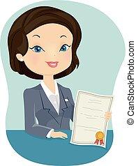 ügynök, leány, biztosítás, igazolás