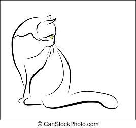 ülés, áttekintés, ábra, macska