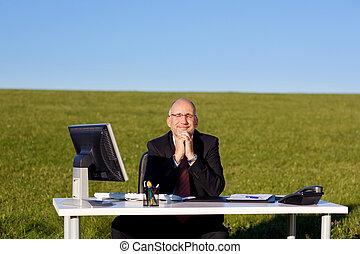 ülés, íróasztal, mező, kézbesít, üzletember, becsatolt