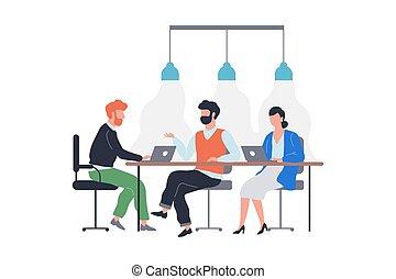 ülés, befog, ügy, meeting., emberek, csoport