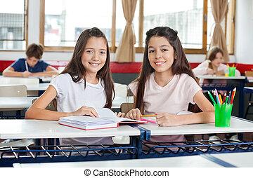 ülés, diáklány, könyv, íróasztal, portré, boldog