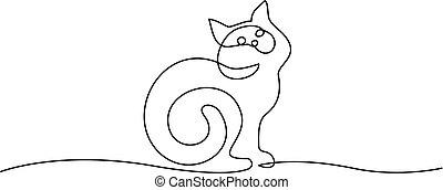 ülés, drawing., macska, farok, egyenes, egy, göndörített