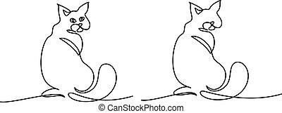 ülés, drawing., nagy macska, farok, egyenes, egy