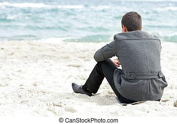 ülés, egyedül, üzletember, élvez, tengerpart, kilátás