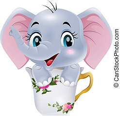 ülés, elefánt, csecsemő, karikatúra, csésze, csinos