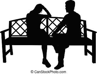ülés, fekete, emberek, körvonal, bírói szék