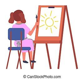 ülés, fest, rajz, kicsi lány, nagy, ív, szék, fogalom, oktatás, aquarell