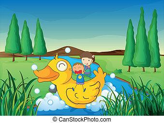 ülés, gyerekek, csónakázik, kacsa