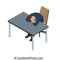 ülés, karikatúra, alkotó, isometric, elszigetelt, emberek., munkás, üzletember, betű, asztal, kereskedelmi ügynökség, alvás, write.