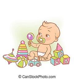 ülés, kevés, játék, toys., csecsemő fiú, pelenka