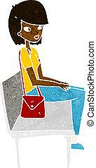 ülés, nő, karikatúra, bírói szék