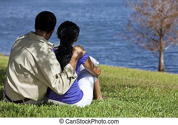 ülés, párosít, tó, amerikai, afrikai, hátsó kilátás