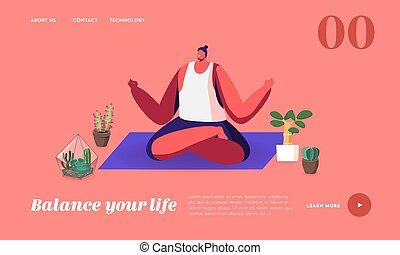 ülés, pihenés, ember, betű, leszállás, testtartás, kipiheni magát, saját oldal, élvez, template., hím, jóga, lótusz, kert, fesztelen
