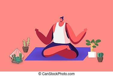 ülés, pihenés, leveses, plants., ember, testtartás, otthon, lótusz, élvez, jóga, elmélkedik, bágyasztó, fesztelen