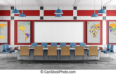 ülésterem, piros, kék