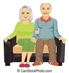 ül együtt, öregedő, pamlag, párosít, romantikus, becsuk