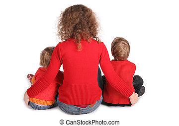 ül, elszigetelt, hát, anya, fehér, gyerekek