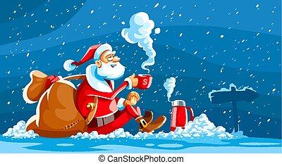 ül, klaus, hó, szent, ünnep, karácsony
