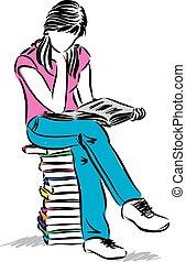 ül lány, tizenéves, ábra, olvasókönyv