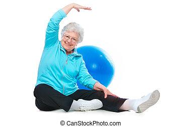 ünnepély, senior woman, kifeszítő