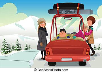 ünnep, haladó, tél, család út