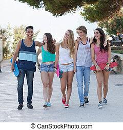 ünnep, tizenéves kor, különböző, csoport