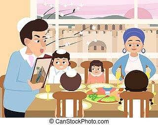 ünnep, vektor, haggadah, zsidó húsvét, család, zsidó, felolvasás