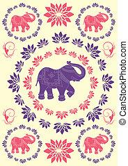 ünnepies, elefánt, indiai, háttér, jellegzetes
