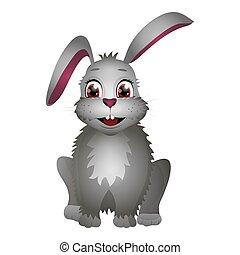 üregi nyúl, fehér, elszigetelt, karikatúra, háttér., lakás, csinos, style., húsvét