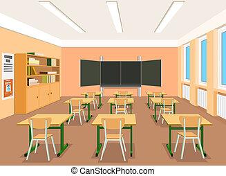 üres, ábra, vektor, osztályterem