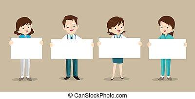 üres, állhatatos, orvosok, transzparens
