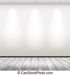 üres, belső, fal, fehér