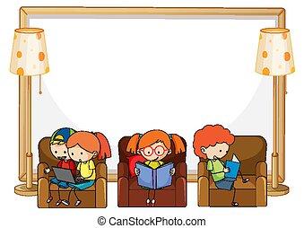 üres, könyv, ülés, sok, transzparens, pamlag, gyerekek, felolvasás