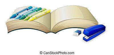 üres, pasztellkréták, fűzőgép, könyv, radír