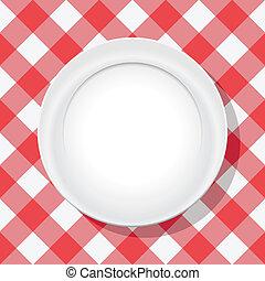 üres, tányér, vektor, abrosz, piknik, piros