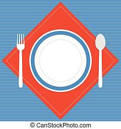 üres, vektor, tányér