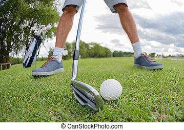 ütés, egyensúlyozott, ember, golfball