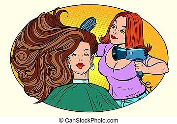 ütés, haj, száradó, borbély, nők