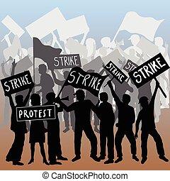 ütés, munkás, tiltakozás