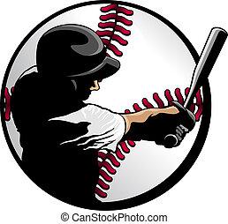 ütőjátékos, labda, closeup, baseball