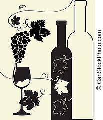 üvegpalack, szőlő, bor