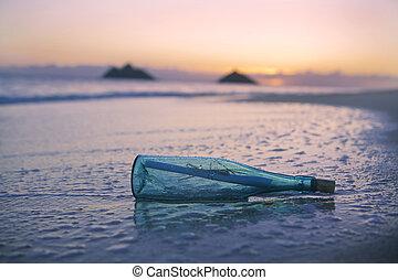 üzenet, tengerpart, palack