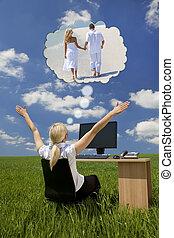 üzletasszony, álmodozás, zöld terep, íróasztal