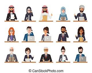 üzletasszony, üzletember, akciók, emberek
